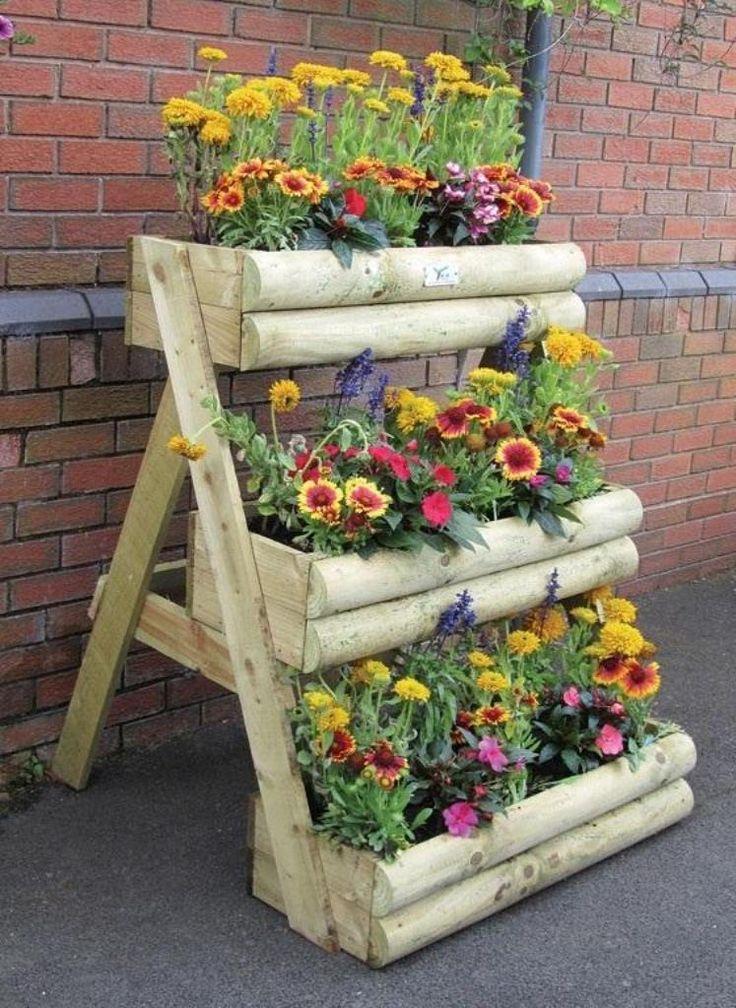 Wooden Flower Pots Ideas Home Pinterest Gardens