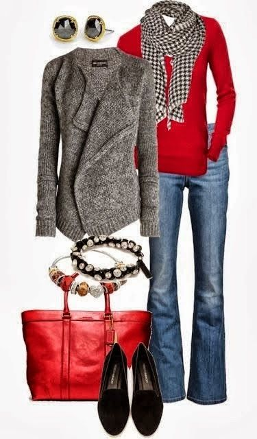 Stylish Outfit – Cardigan, Jeans, Red Sweater, Shoes and Suitable Red Handbag wi