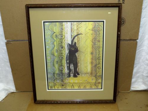 RARE P Buckley Moss 034 Black Cat 034 Print Signed 176