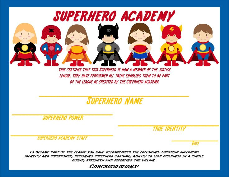 Superhero Certificate Awarded After Kids Complete