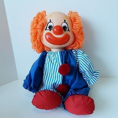 Vintage Smile Frown Clown Doll 2 Faces Orange Yarn Hair