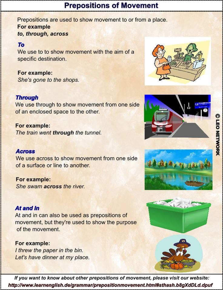 Prepositions of Movement To / Through / Across English