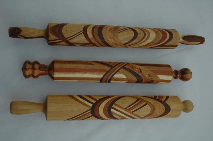Segmented Rolling Pins, made with several Wisconsin Woods & some Exotics. Finished with Danish Oil. by