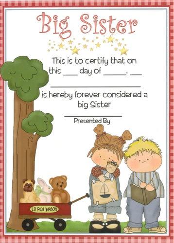Big Sister Certificate – Personalised Gift for Older Sibling  – Boy or Girl Baby