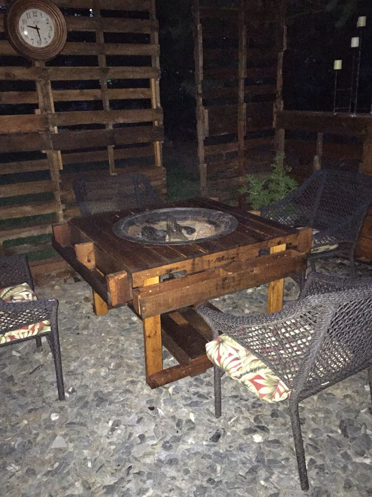 DIY Pallet Fire Pit table For the Home Pinterest