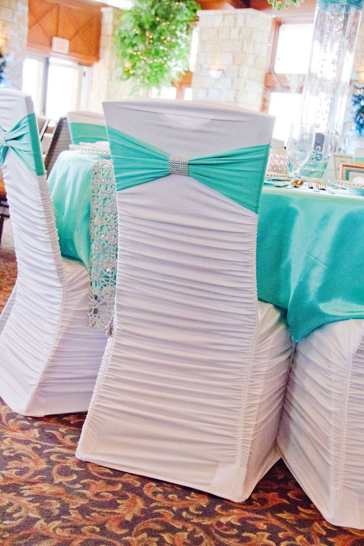 White Ruched Chair Cover, Tiffany Blue Spandex Sash, and