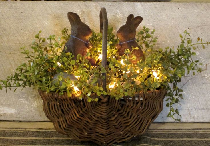 """""""Primitive Basket…with lights and beeswax bunnies.""""  ( Truly lovely. What's more I would like to change it with either the"""