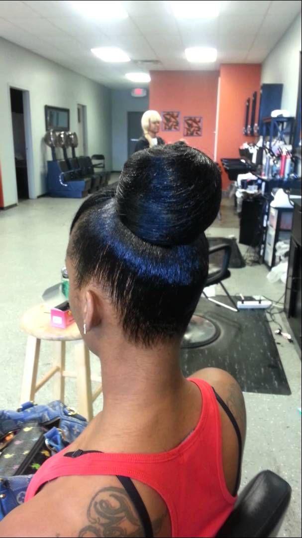 Weave Bun W Quickweave Bang Hair It Is Pinterest