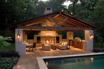 Pool house contemporary patio, very cool but are those sofas? Won't they get wet?