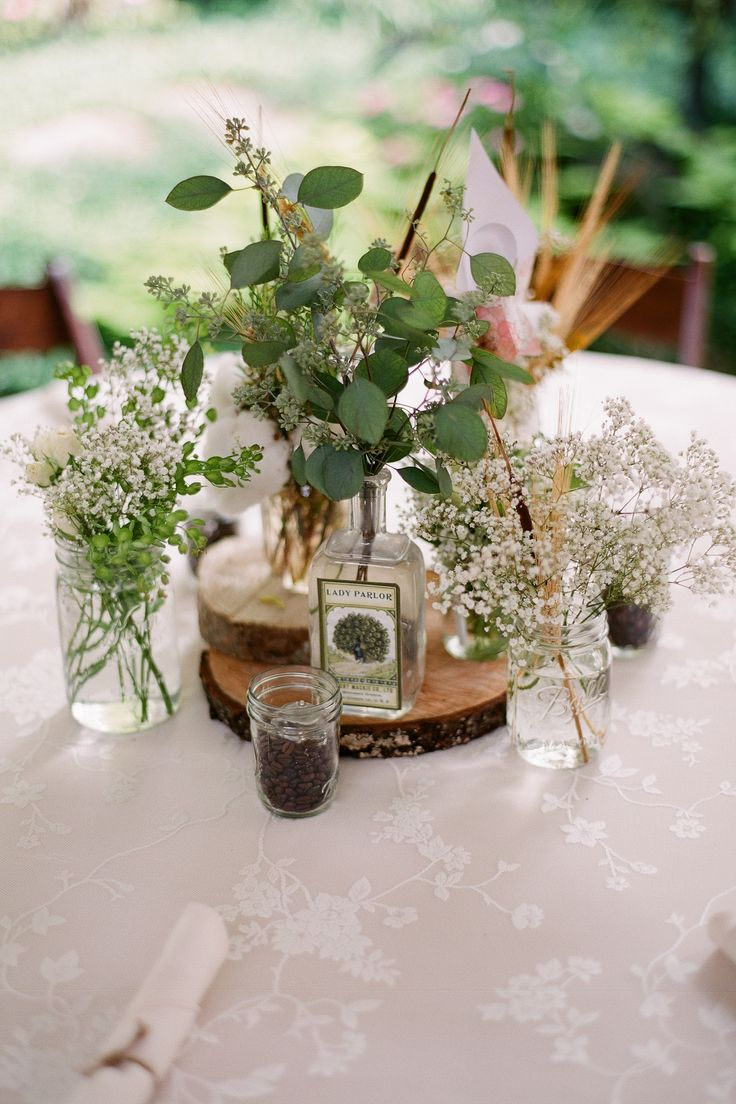 Garden Wedding Venue Cotton Eucalyptus Logs Wheat And Baby S Breath By Caprice Palmer