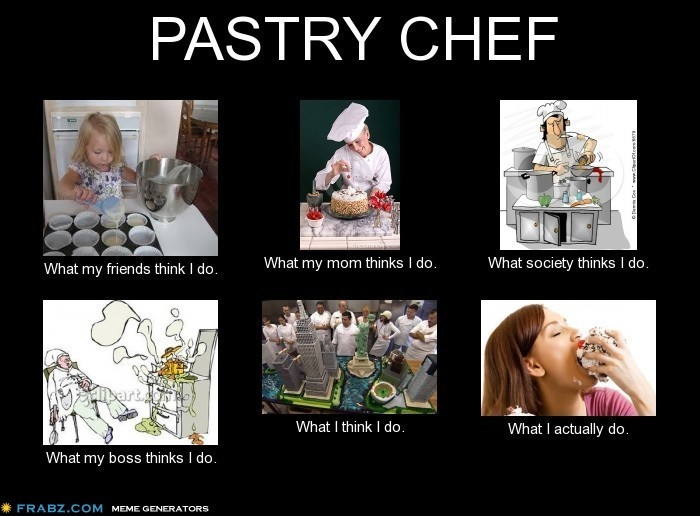 PASTRY CHEF What my friends think I do. What my mom thinks