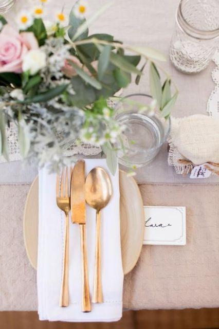 Gold Cutlery / Place Setting Inspiration / Kara & Jeff's Organic Country Wedding /  LANE