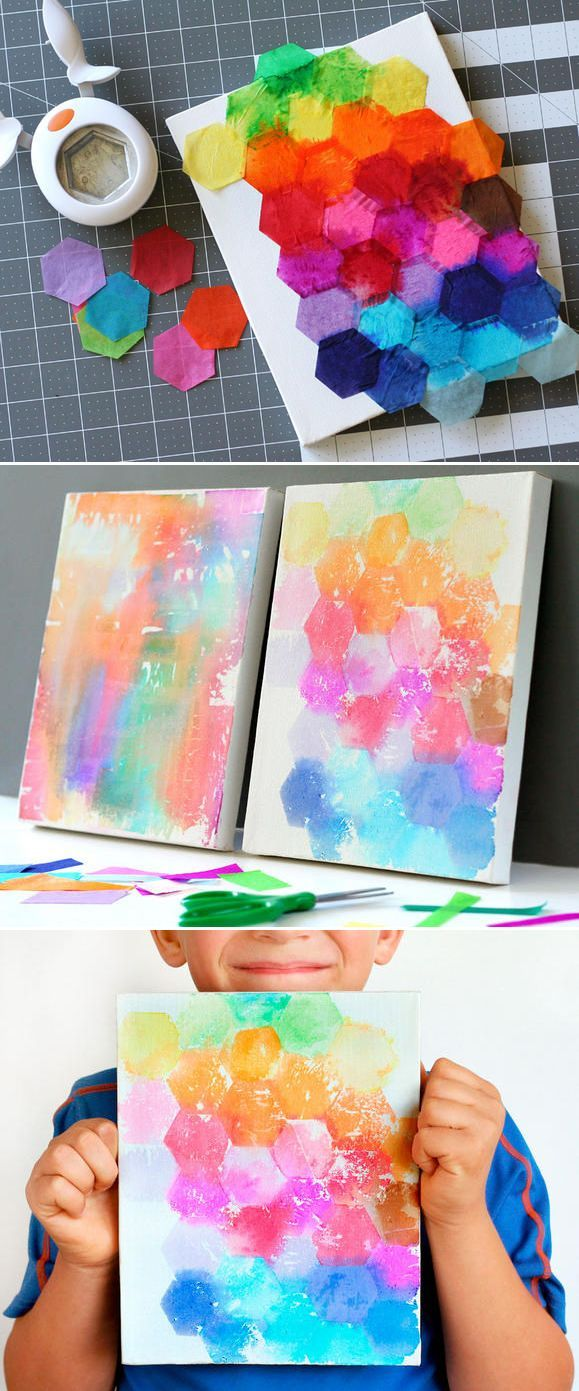 Kids Crafts Watercolor painting with tissue paper! via