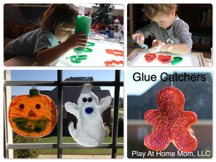 Pumpkin and ghost crafts for kids.  Glued sun catchers!