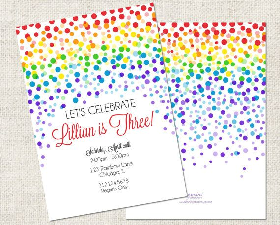 Rainbow Confetti Birthday I