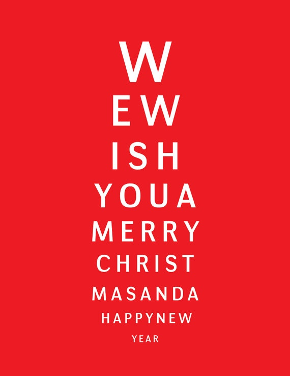 Eye Chart Christmas Cards I Bought This For My Fil The