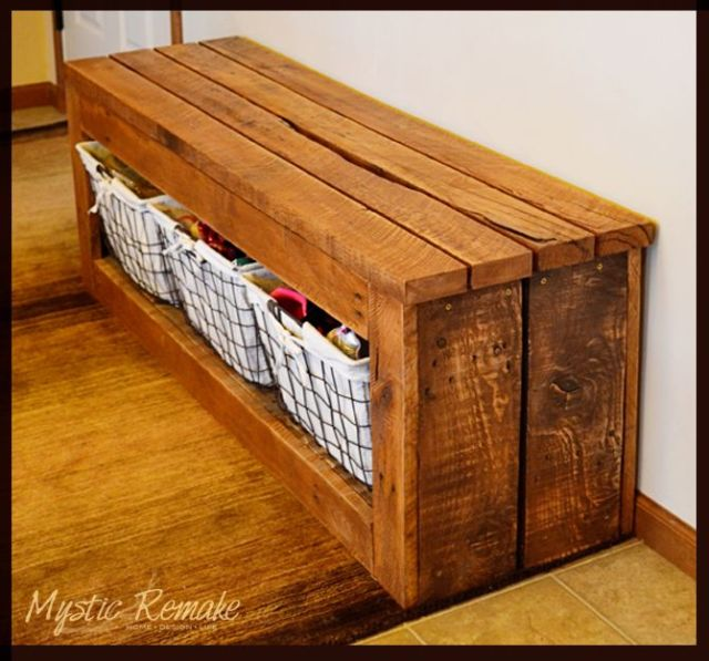 Pallet Wood Storage Bench - In desperate need of a shoe storage solution by our garage entry, my hubby and I set out to test our pallet wood skills. We had been…: