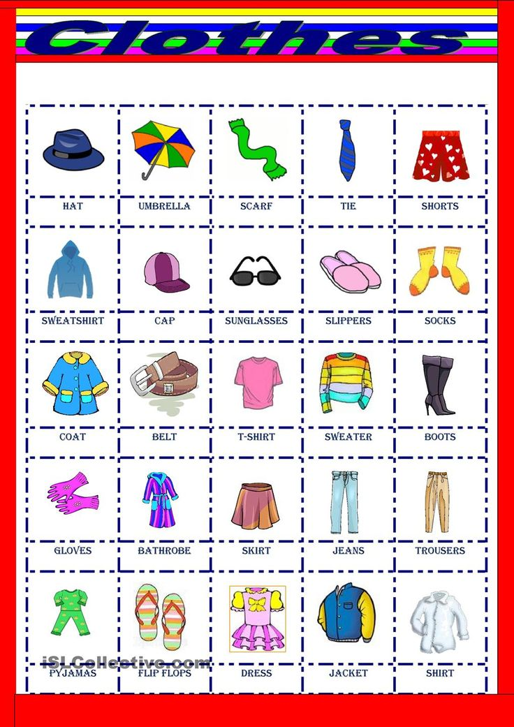 Clothes pictionary Easy english Pinterest Clothes