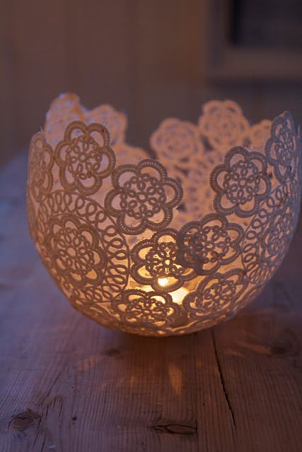 Lace Bowl and Votive   (scroll down for the English translation)