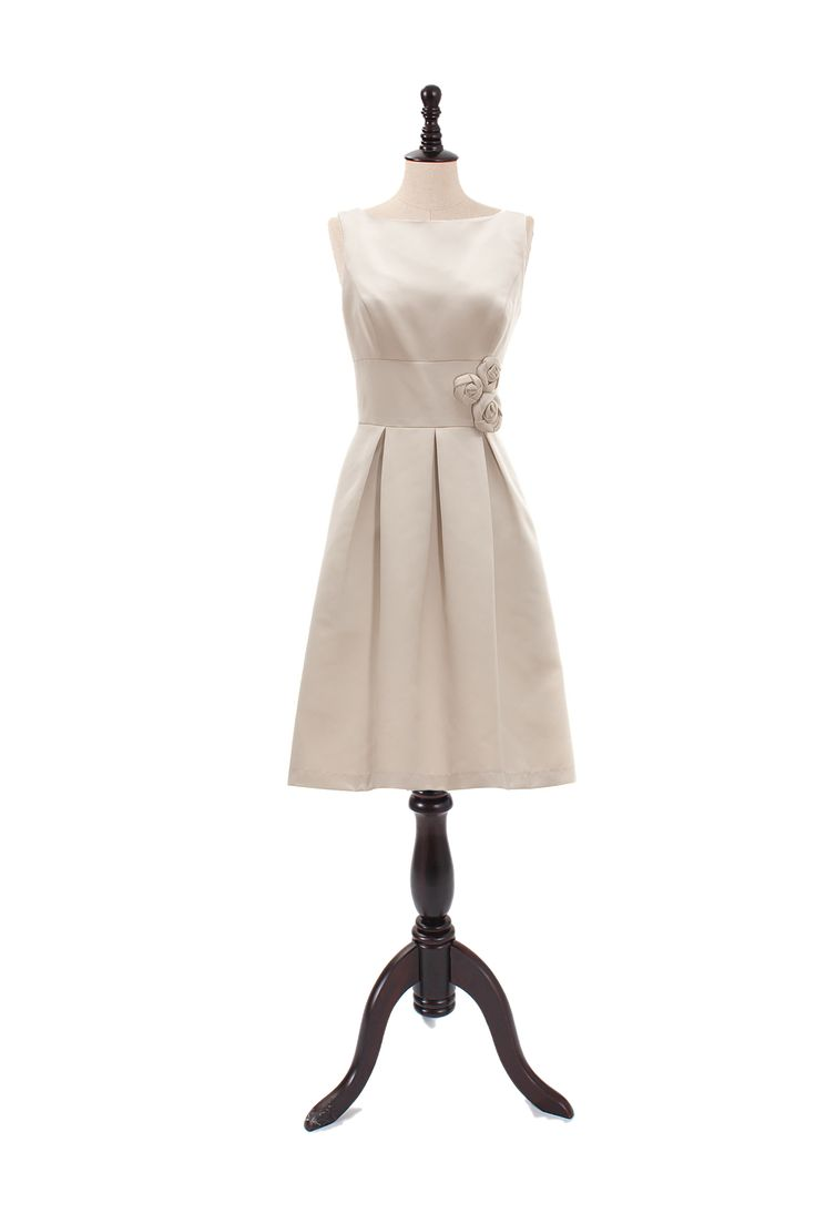 Bateau Satin Dress With Flower Detail
