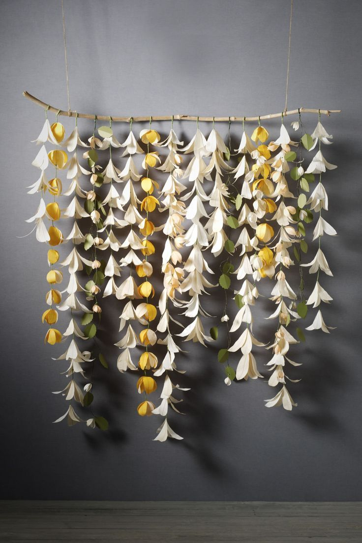 backdroptwig and origami flowers parties Pinterest