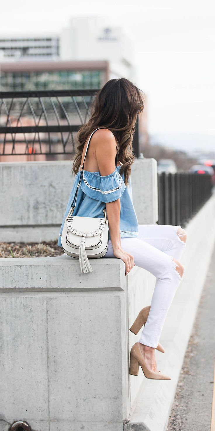 The off the shoulder top trend is one which is coming back with a bang this spring! Christine Andrew wears the look on a beautiful
