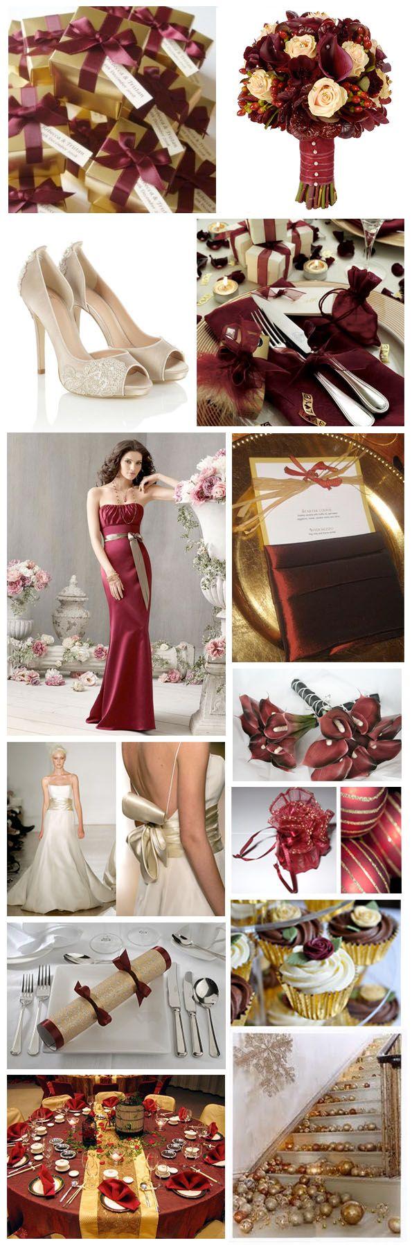 Burgandy And Gold Wedding Theme