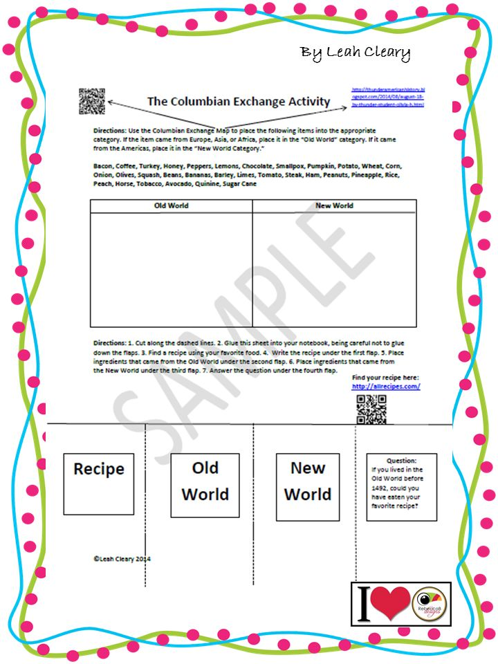 Columbian Exchange Worksheet The old, World and The o'jays