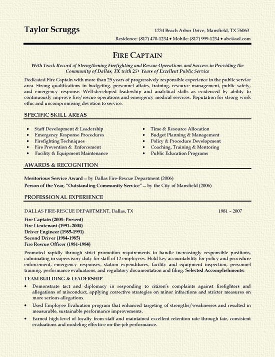 1000 ideas about firefighter resume on pinterest police officer
