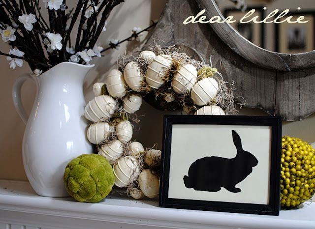 I added this bunny to a white plate instead of a frame – CUTE – love this Easter mantel