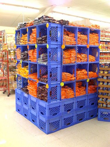Milk Crates As Shelves At The Jubilee By Warmest Regards