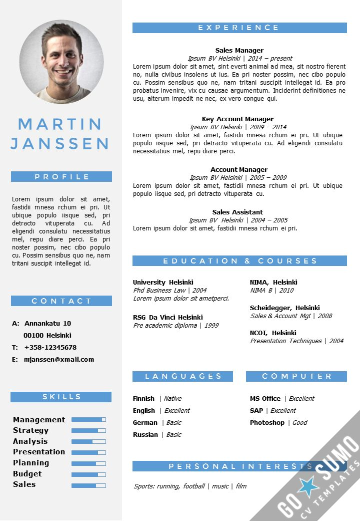 CV Resume template in Word. Fully editable files. Incl 2nd