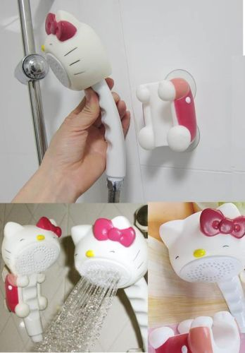 Lovely Plastic Hello Kitty Bathroom Rain Shower Head Mount Set Bath Strainer |