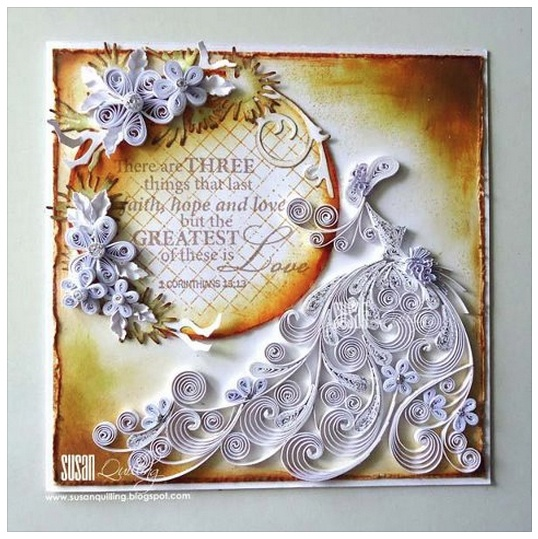Quilled Wedding Anniversary Card By Susan Quilling FB