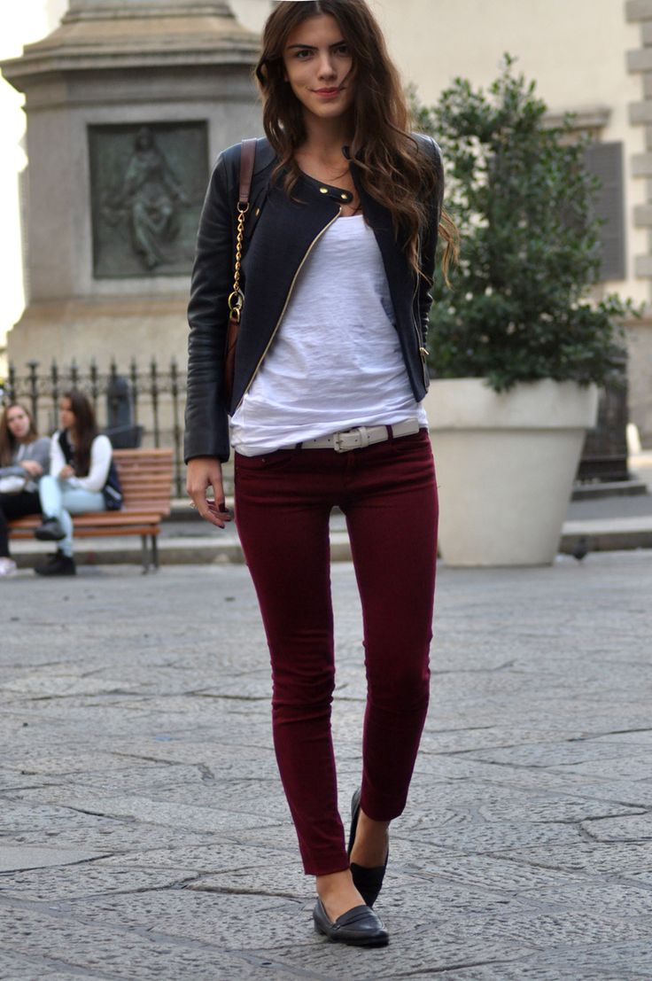wine colored pants / white tshirt / black leather jacket