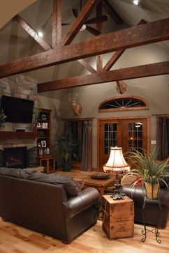 Rustic wood moulding looks beautiful against the gray colored walls. | Stylish W