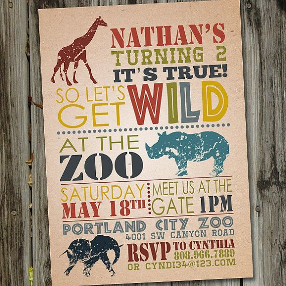 Wild Safari or Zoo Birthday Printable Birthday Party Invitation on Etsy, $15.00