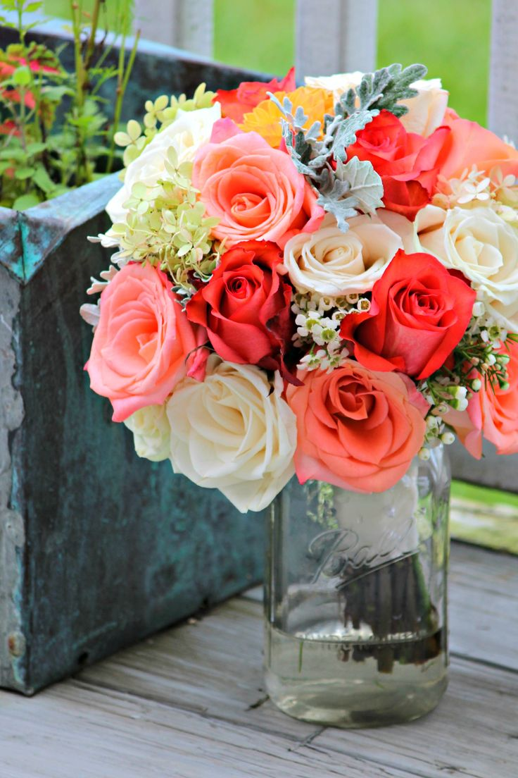 Fall wedding Bouquet. Wedding Flowers Coral, Peach, and