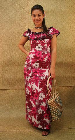 flowered print puletasi with rufflied neckline samoan puletasi designs pinterest neckline