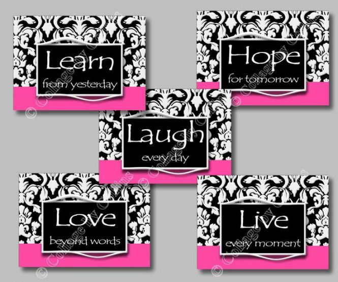 Black Hot Pink Damask Print Wall Art Room Decor Hope Live Laugh Learn Love