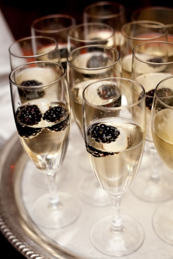 Champagne With Blackberries
