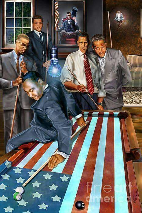 Playing Pool Martin Luther King Malcolm X Muhammed