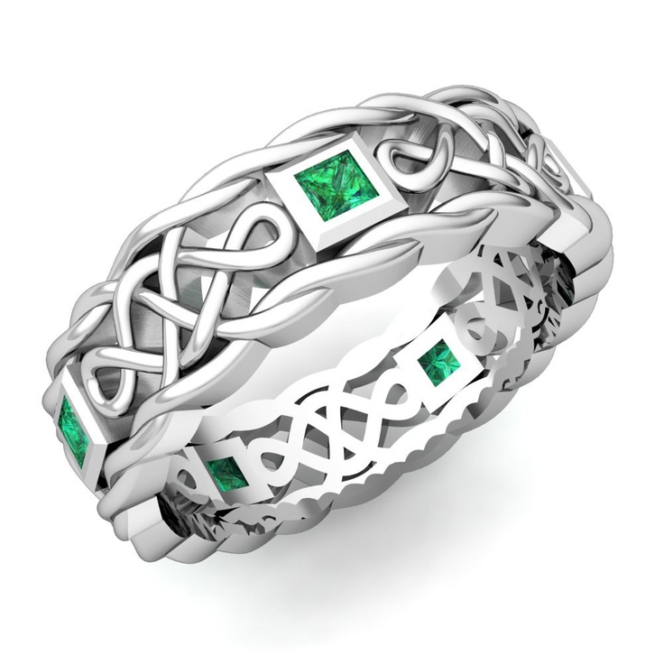 Mens Emerald Wedding Band in 14k White Gold Celtic Band