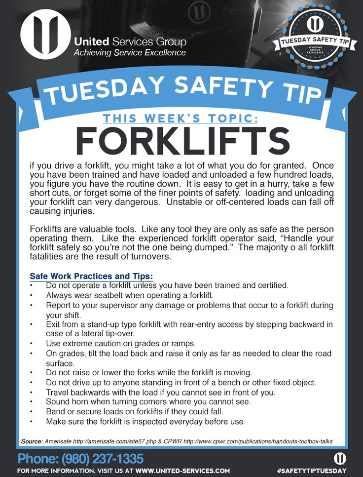 This week's Tuesday Safety Tip is about Forklift safety