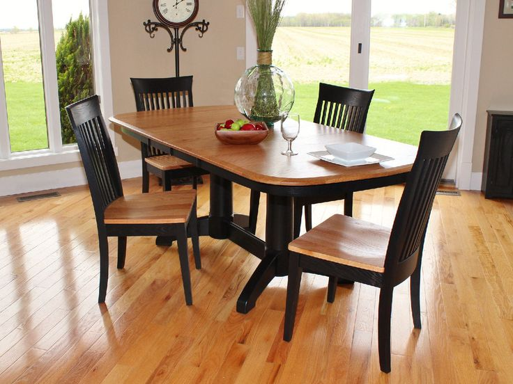 Split Rock Amish Oak Table With 4 Carlisle Side Chairs At