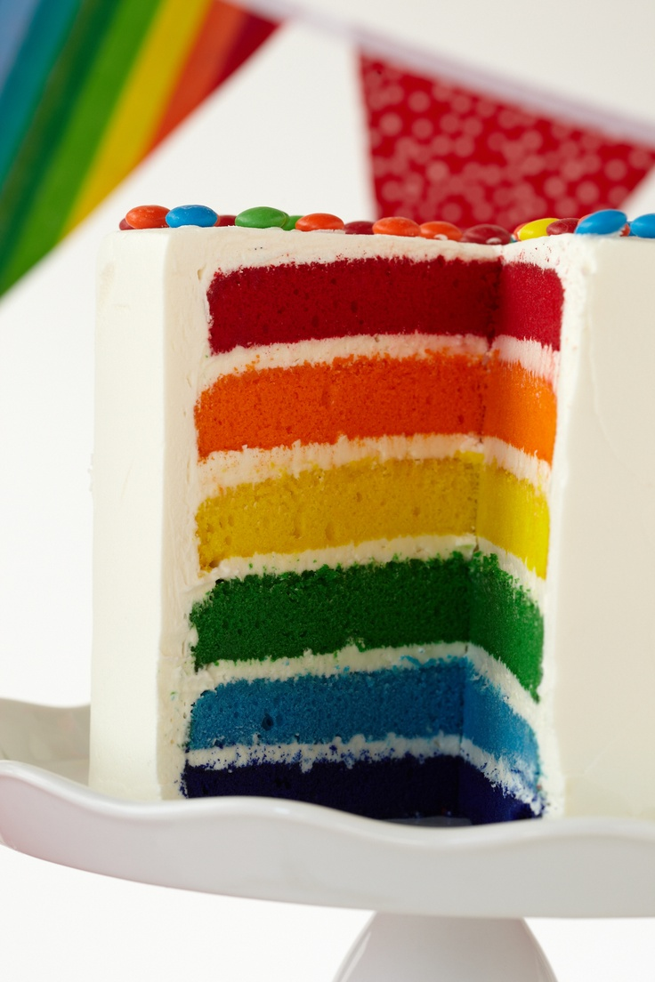 Rainbow Color Cake Cut Into This Seemingly White Cake And