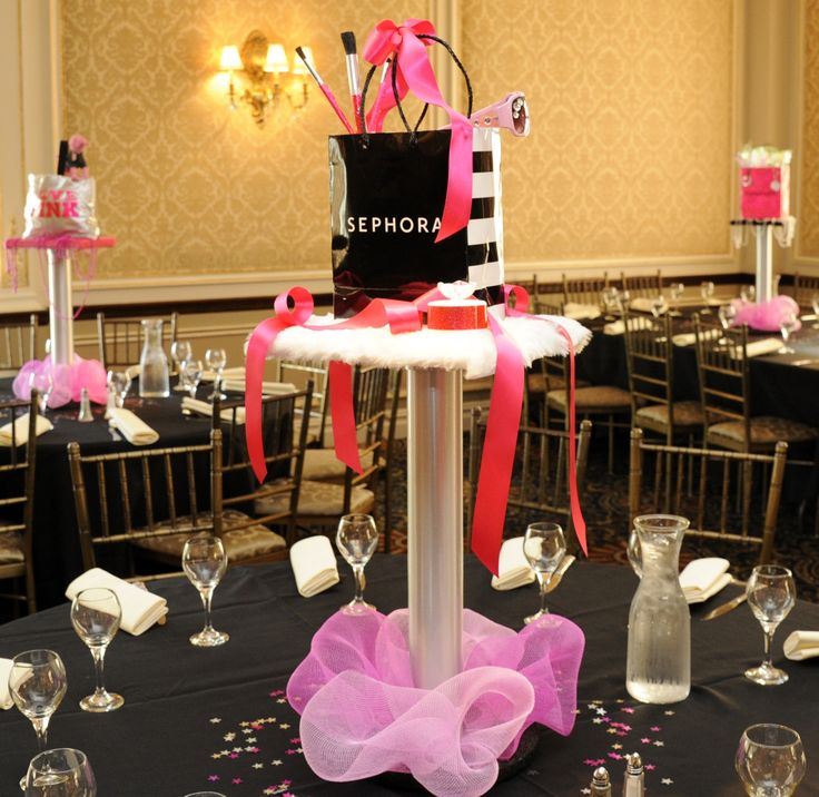 Sephora Themed Centerpiece Bat Mitzvah Design
