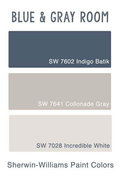 Sherwin Wiliams Blue & Gray Room – Guest Bedroom Inspiration & Paint Colors – go see the makeover at The P