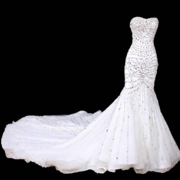 Intricately  beaded sweetheart mermaid wedding dress