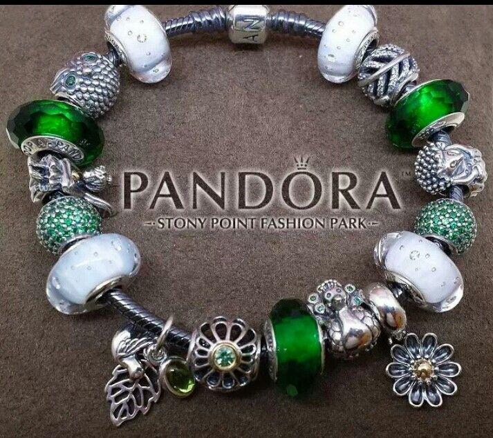 Lucky Green and White Pandora bracelet Pandora